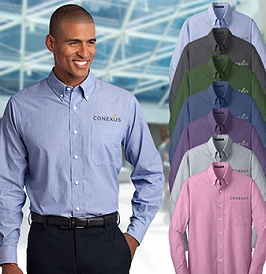 Men's Easy-Care Crosshatch Button Down