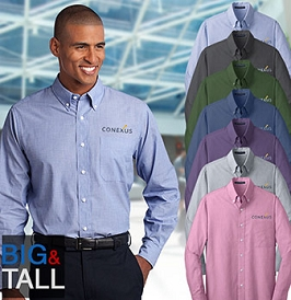 Men's TALL Easy-Care Crosshatch Button Down