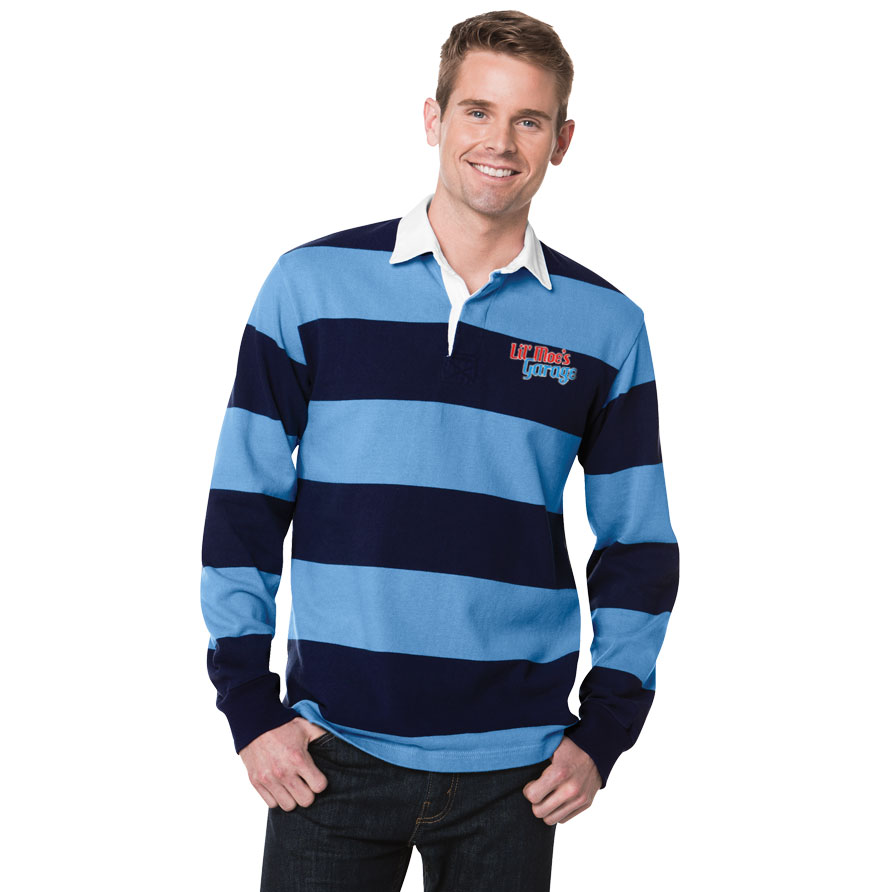 Mens long sleeve polo shirt with stripes male models picture for Long sleeve striped rugby shirt